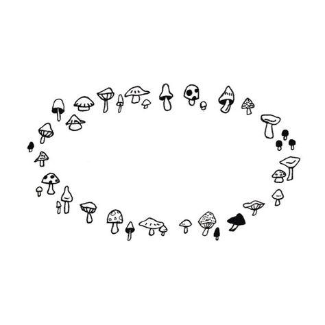 Pixie Ring Illustration-- Fairy Ring Design -- Mushroom Circle Drawing -- Elf Circle Design Art Print by La Petite Mesange - X-Smal Body Art Tattoos, Mushroom Tattoos, Mushroom Drawing, Fairy Tattoo, Pretty Tattoos, Cute Tattoos, Mushroom Circle, Circle Drawing, Pixie Tattoo