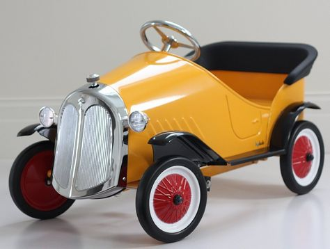 Yellow Ride On Steel Vintage Pedal Car