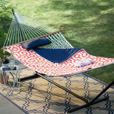 cotton rope double hammock with metal stand deluxe set   orange navy   8935hndi   cotton rope double hammock and rope hammock island bay 11 ft  cotton rope double hammock with metal stand      rh   pinterest