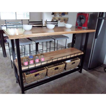 Desayunador Barra Hierro Y Madera Estilo Industrial 20 700 00 Barras De Cocina Diseño Muebles De Cocina Muebles De Diseño Industrial