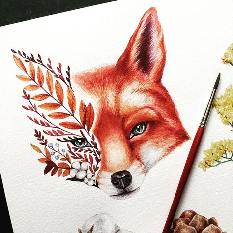 Beautiful detail from @y_yumaeva of this nature styled fox. Think there's something magical 🧙‍♀️ about the way he appears to stare straight…