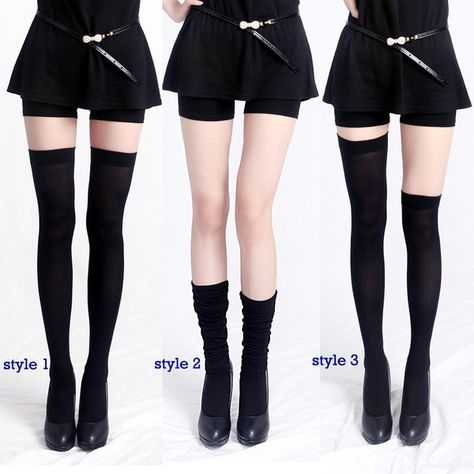 HDE Women's Opaque Solid and Striped Thigh High Stockings Socks (White) Chaussettes hautes et cuisse opaques opaques pour femmes (blanches) High Socks Outfits, Cool Outfits, Thigh High Socks Outfit, Knee Socks, Thigh Socks, Cute Fashion, Fashion Outfits, Womens Fashion, Fashion Goth