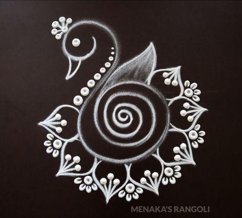 Easy And Beautiful Peacock Rangoli Design For Diwali | Diwali Special Peacock Rangoli Design