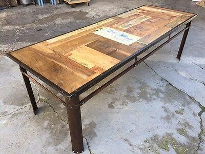 Tavoli In Ferro E Legno.Dettagli Su Tavolo Stile Industriale Modernariato Vintage Ferro E