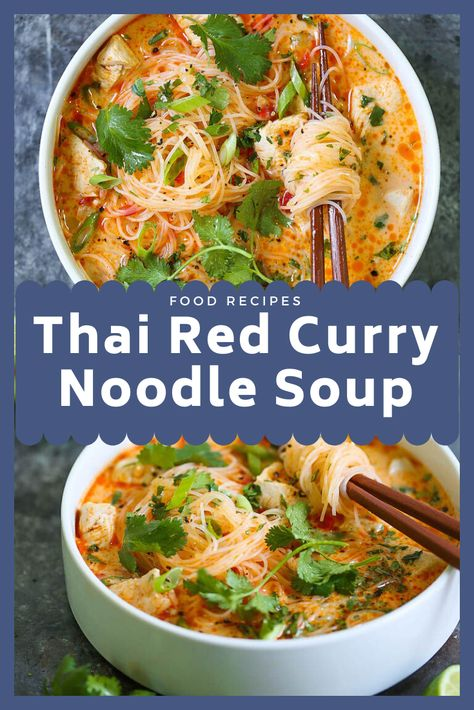 THAI RED CURRY NOODLE SOUP Yes, you can have Thai takeout right at home! This soup is packed with so much flavor with bites of tender chicken, rice noodles Curry Noodles, Thai Noodles, Soup With Noodles, Kimchi Noodles, Cooking Recipes, Healthy Recipes, Healthy Soups, Heathly Soup Recipes, Healthy Thai Food