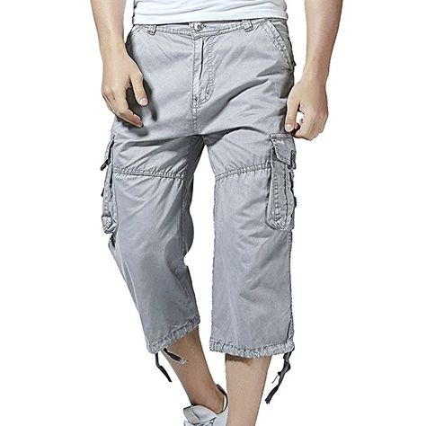 Mens Casual Elastic Cargo Shorts Below Knee Loose Fit Multi-Pocket Shorts