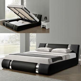 Lit Coffre Sommier Relevable Nova 160x200 Noir Lit Coffre Lit Design Lit Avec Rangement Integre