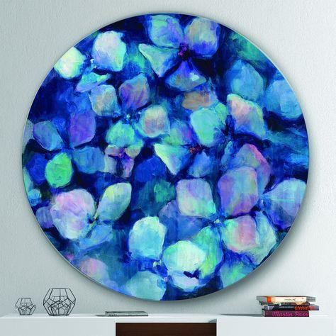 Designart 'Abstract Blue Flower Petals' Geometric Metal