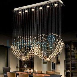 Modern Contemporary Chandelier Flush Mount Led Pendant Fixture Crystal Rain Drop Light For High Ceiling Liv Contemporary Chandelier Drop Lights Pendant Fixture