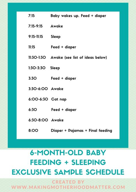 6-Month-Old Baby Feeding + Sleeping Exclusive Sample Schedule - baby feeding chart