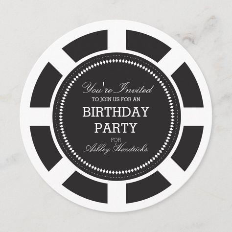Black Poker Chip Birthday Party Invitation Zazzle Com In 2021 Casino Party Invitations Engagement Party Invitations Poker Chips