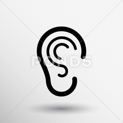 Ear Icon Listen Vector Hear Deaf Human Sign Stock Illustration Ad Vector Hear Listen Ear Icon Clip Art Vector