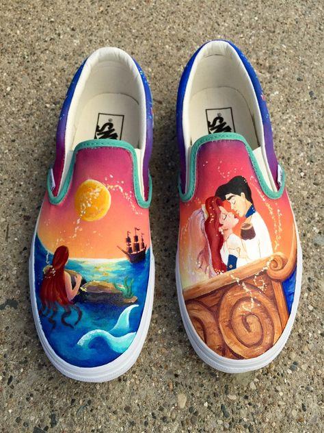 7ff109be2be Custom Painted The Little Mermaid Vans Shoes