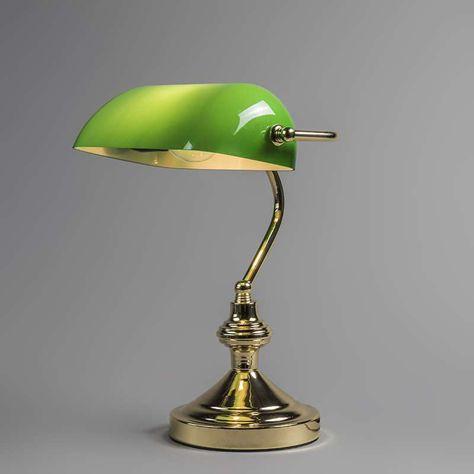 Lampe De Notaire Banker Dore Vert Lampe Retro Lamp