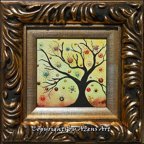 Tree Of Life 35 Mixed Media On Canvas 10 X 10 Cm Frame 19 X 19 Cm Mixed Media Canvas Art Frame