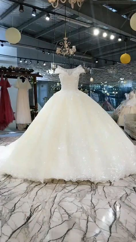 Luxury shiny sequined with 3d flowers beaded wedding dress#beaded #dress #flowers #luxury #sequined #shiny #wedding