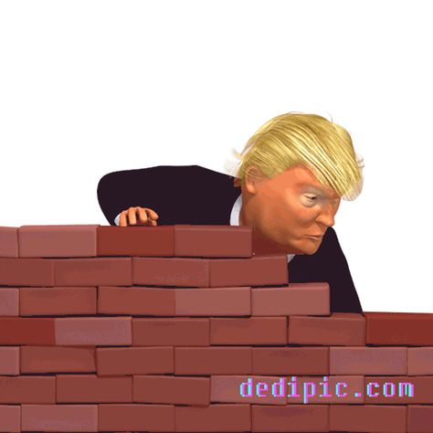 Wall Tantrum 3d Trump Caricature GIF