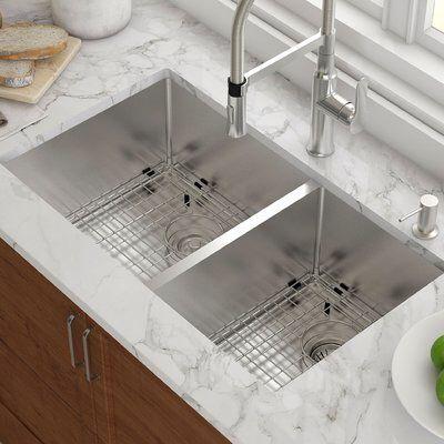 33 Quot X 19 Quot Double Basin Undermount Kitchen Sink With Drain Assembly Undermount Kitchen Sinks Best Kitchen Sinks Farmhouse Sink Kitchen