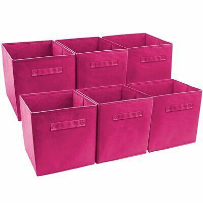 Details About Set 6 Pink Cube Storage Bins Foldable Fabric Basket