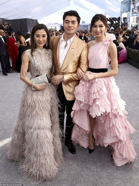 Catching up: (from L to R) Michelle Yeoh, Henry Golding and Gemma Chan all starred in Craz...