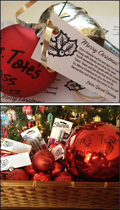 """Made these for my son's 5th grade class (They each had to bring in little gifts for their classmates). Cheap plastic ornaments personalized with a Sharpie marker. Plus one BIG ornament for the teacher. I'm sending gold and silver Sharpie markers in for the class to """"autograph"""" each other's ornament so it will be come a keepsake of their last year in elementary school."""