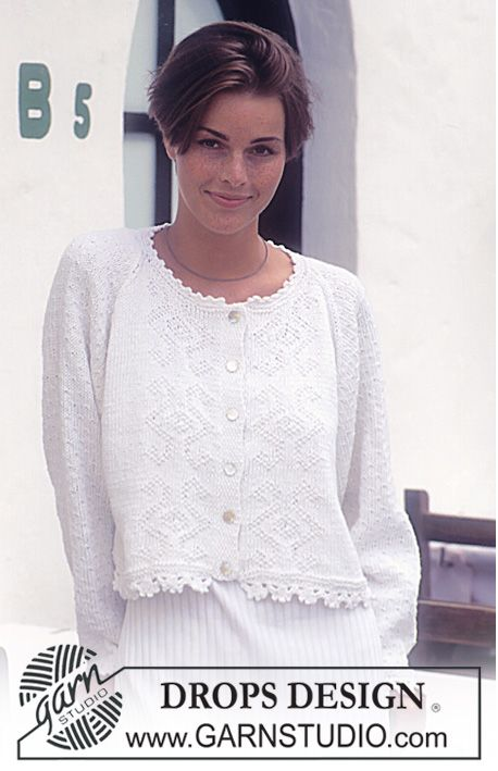 Drops 101 7 Drops Cardigan With Bobbles And Lace Pattern Knitted