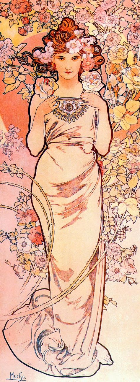 ⊰ Posing with Posies ⊱ paintings of women and flowers - Alphonse Mucha, Rose
