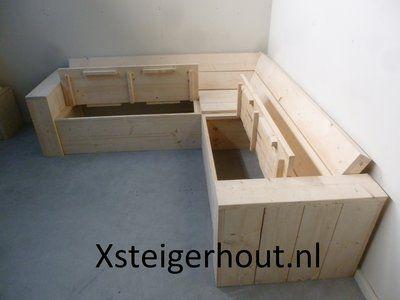 Steigerhout Hoekbank Met Opbergruimte.Steigerhout Hoekbank Met Opbergruimte Op Maat Bouwpakket