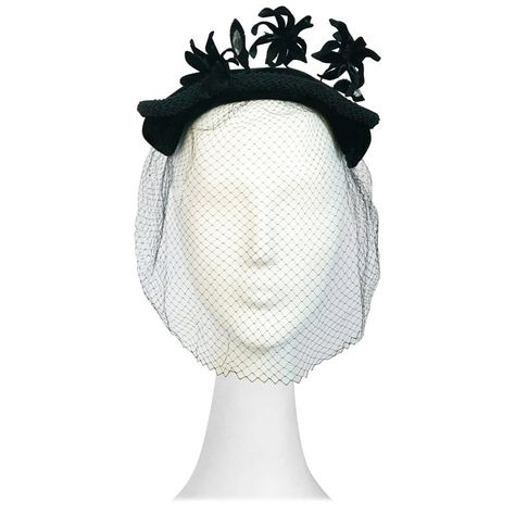 Black Dark Green White Pheasant Feather Pillbox Hat 40s Fascinator Vtg Hair 1314