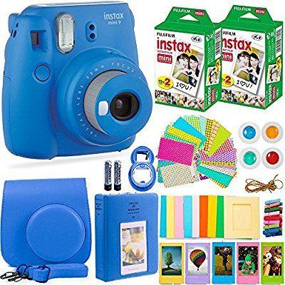 Includes; Case More Cobalt Blue Lens Filters Mini 8+ Compatible for Fujifilm Instax Mini 9 44-Piece Accessory Bundle Plastic Frames Close-Up Photo Album Mini 8 Instant Film Camera