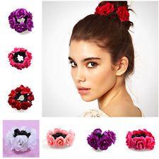 Flower Bun Garland Floral Head Knot Hair Top Scrunchie Band Elastic Bridal SH
