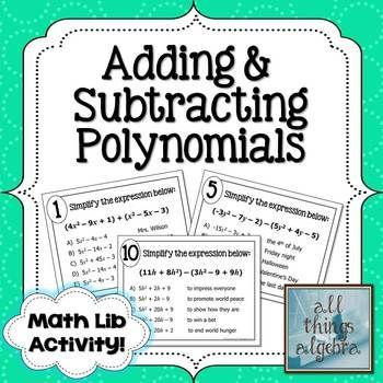 Adding and Subtracting Polynomials Math Lib Math, Activities and