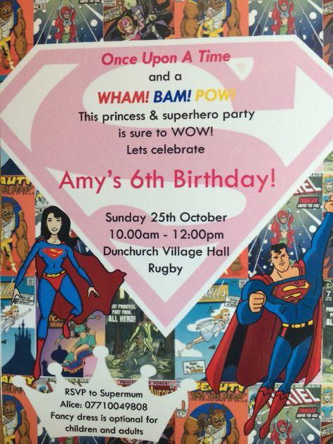 Princess And Superhero Party Invites Birthday Party Pinterest