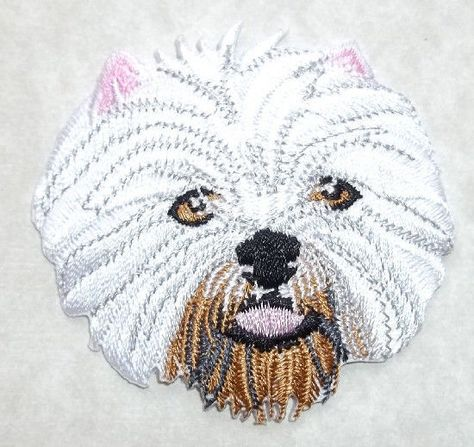 Dog Embroidered Iron On Applique Patch Terrier Westie Pet