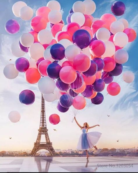 USA Seller. Balloon Ballerina in Paris- Paint by Numbers Kit. DIY.  Fast Shipping!
