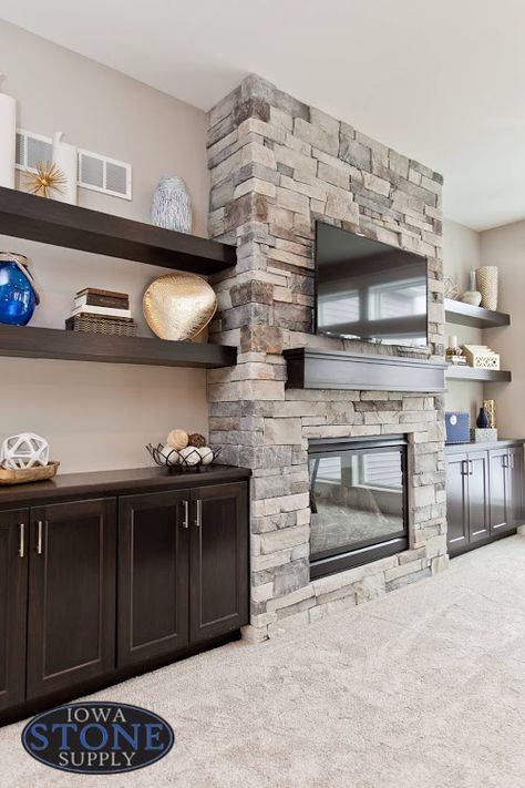 Fireplace With Cabinets, Stone Fireplace Wall, Basement Fireplace, Family Room Fireplace, Fireplace Built Ins, Home Fireplace, Fireplace Remodel, Fireplace Surrounds, Fireplace Shelves