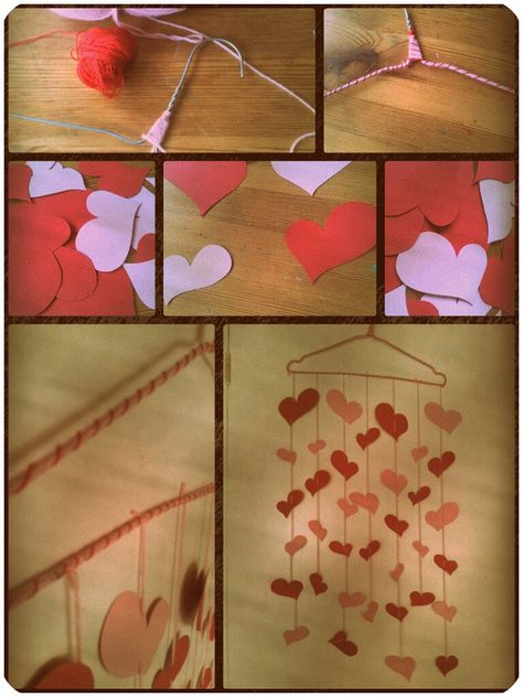 #valentine #paper #hearts #wire #coathanger