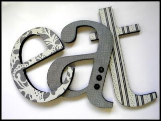 Modpodge wood letters with fabric or scrapbook paper