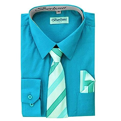 Berlioni Italy Kids Boys Dress Shirt with Tie /& Hanky Long Sleeves Black