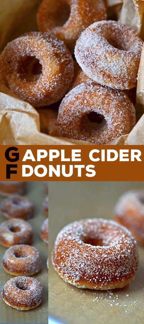 Sub guar gum & gelatin for xanthan. Use oat flour or an oat blend. This easy gluten free baked apple cider donuts recipe is the cure for when you go to the apple orchard—but can't buy their sweet-smelling baked goods! Gluten Free Donuts, Gluten Free Sweets, Gluten Free Baking, Dairy Free Recipes, Gluten Free Cake Donut Recipe, Cake Donut Recipe Baked, Gluten Free Apple Cake, Best Gluten Free Bread, Gluten Free Snacks