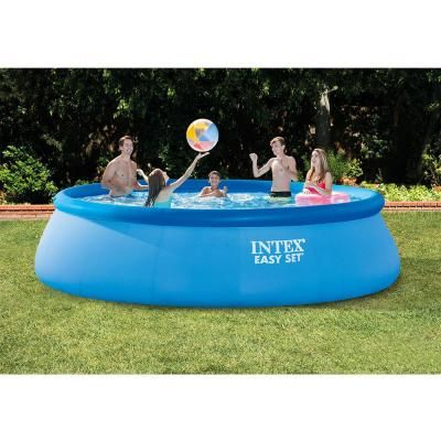 Intex Easy Set 15 Ft Round X 48 In Deep Inflatable Pool 28167eh K The Home Depot Easy Set Pools Inflatable Pool Intex