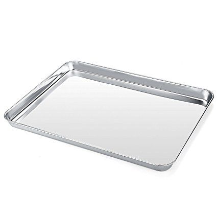 Large Baking Sheet Metal Stainless Steel Baking Pan Cookie Sheets For Toaster Oven Tray Pans Non Stick Toxic Mirror Pan Cookies Baking Pans Clean Dishwasher
