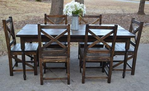 Dark Walnut Stained Farmhouse Table With Handmade X Back Chairs ~ Simply  Southern Home Decor | Farmhouse Style Dining | Pinterest | Dark Walnut  Stain, ...