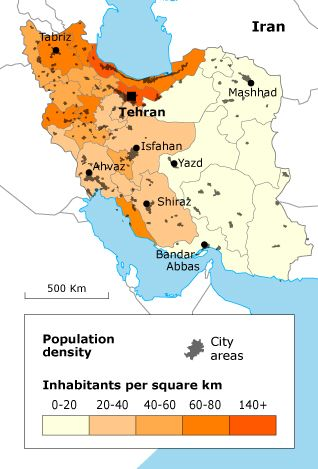 Population Of Iran Map Iran Human Geography