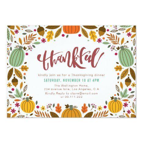 Thankful Thanksgiving Dinner Invitation Zazzle Com In 2020 Thanksgiving Dinner Invitation Dinner Invitations Thanksgiving Dinner