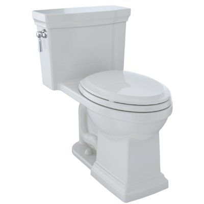 Toto Promenade 1 28 Gpf Dual Flush Elongated One Piece Toilet Seat Included Finish Colonial White Lever Location Left Hand Toto Toilet Traditional Toilets Traditional Bathroom