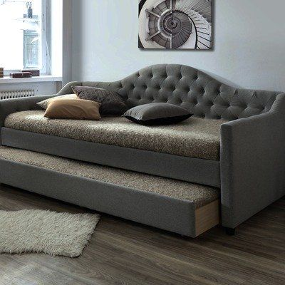 Grey York Single Day Bed Frame With Trundle Day Bed Frame