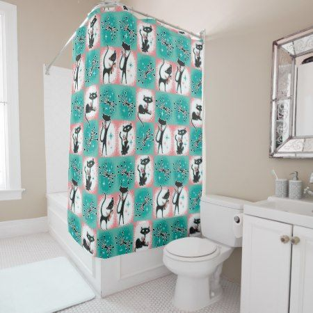Mid Century Modern Cats Shower Curtain Tap Personalize Buy