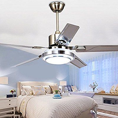Rainierlight Modern Ceiling Fan 5 Stainless Steel Blades Remote Control Led 3 Led Changing Light White Modern Ceiling Fan Ceiling Fan Ceiling Fan With Light
