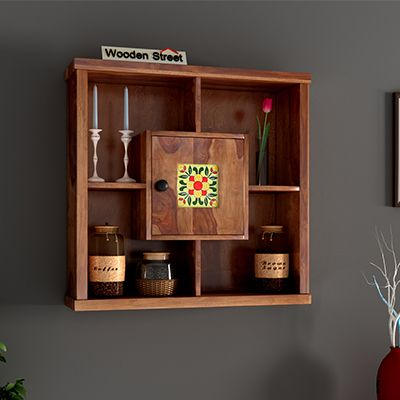 Buy Quatro Wall Shelf Honey Finish Online In India Wooden Street Shelves Wall Mounted Kitchen Shelves Wall Cabinet